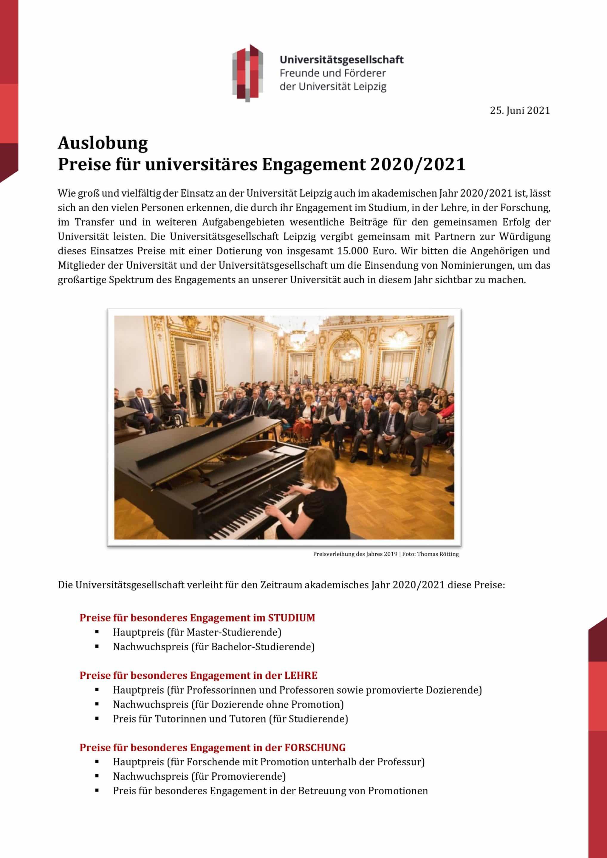 Screenshot der 1. Seite der Auslobung 2021